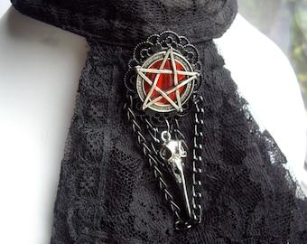 Gothic Pentagram Raven Skull Red Black Brooch Badge Cravat Jabot Tie Pin Pagan Wicca