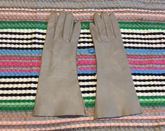 Gray Gloves Leather Vintage size 7