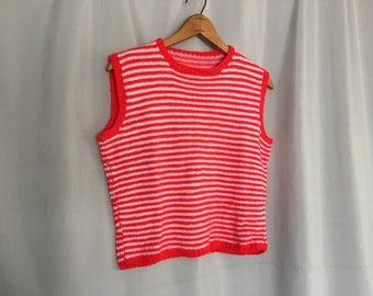 Red White Sweater Vest Striped Vintage size XS or Small