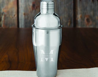 Monogrammed 20 oz. Stainless Steel Cocktail Shaker - Personalized Barware - Monogrammed Cocktail Shaker - Groomsmen Gifts - GC1485