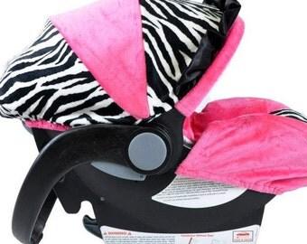 Infant Car Seat Cover-Zebra/ Hot Pink