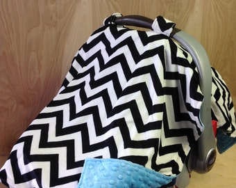 Canopy Tent-Black And White Chevron/ Aqua
