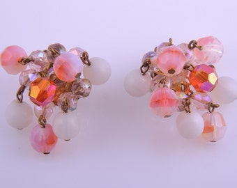 1950's Clip On Earrings With Pink Crystal Beads (743u)