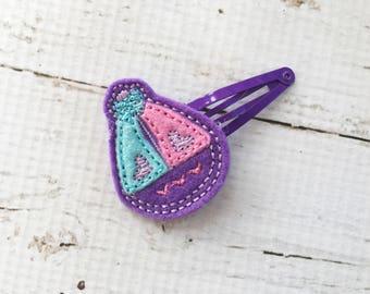Sailboat Hair Clip Barrette for Girls - Nautical Hair Clip - Purple Snap Clip Barrette - Hair Clippie for Toddler - Summer Hair Barrette