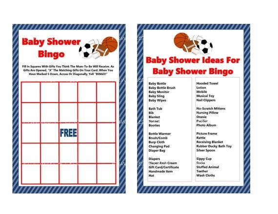 Sports Bingo Game, Printable Sports Baby Shower Bingo Game Card, Red Blue  Sports Bingo Card, All Star Bingo Game   Printables 4 Less 0079