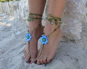 Barefoot sandals lace crochet.Jewelery crochet for beach holiday.Boho style jewelry.Anklets crochet.Black crochet jewelry.