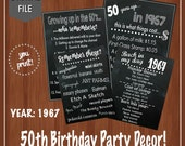 ON SALE - 50th Birthday Party Decor - Fun Facts -60's Themed Party - 50th Birthday Centerpieces - Digital File - Table Decor- 50th Birthday