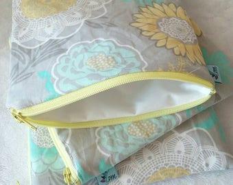 Sunny Aqua Floral | Cloth Pad Wetbag | SMALL