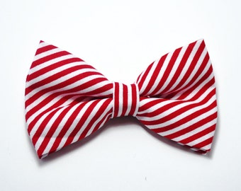 Red and White Stripe Bow Tie For baby/Toddler/Teen/Adult/with Adjust strap/Clip on