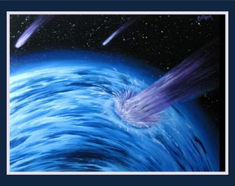 "Original 18x24"" Oil Painting - Comet Crash Falling Star Planet Space Spacescape Wall Art"