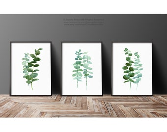 Set of 3 Plants Watercolor Painting, Botanical Illustration, Mint Art Print, Eucalyptus Leaves Green Kitchen Decor, Living Room Plant Poster