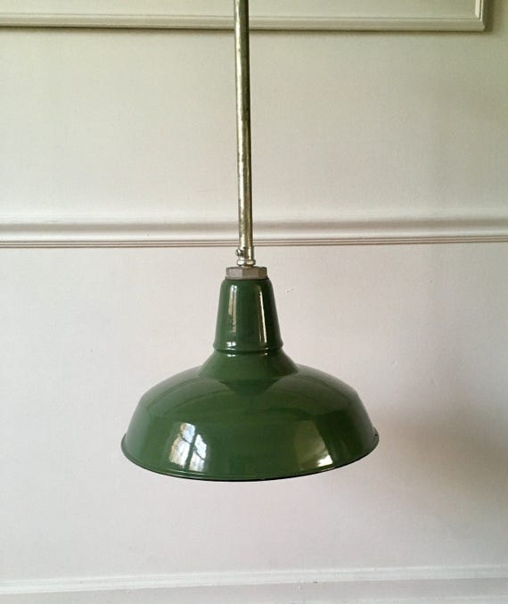 Found In Ithaca Vintage Green Enamel Shop Light: Vintage Benjamin Porcelain Enamel Light Fixture
