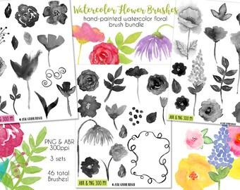 Floral Watercolor Brush Bundle, Digital Brushes, Stationery, INSTANT DOWNLOAD, CU, Printables, Collage, Scrapbooking, Card-Making, Flowers