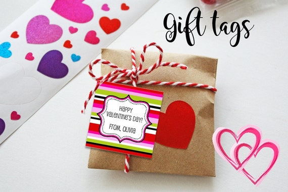 Valentine Bag Tags - Printable - Valentine's Tags - Fun Stripes - Pink - Red - Gift Tags