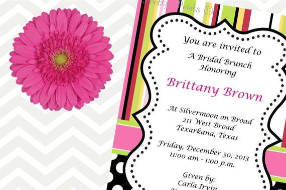 Birthday Invitations, Stripes, Dots, Black, Pink, Party Invitations, Shower Invitations, Printable Invitation, Birthday Invites