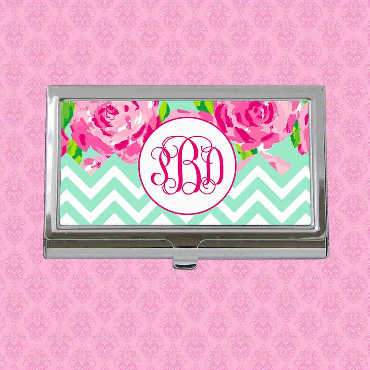 Business Card Case Monogram Business Card Holder Personalized Card
