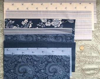 Shabby Chic Fabrics - Blue and White Remnant Bundle