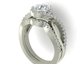 Engagement Rings set, Diamond Rings, Forever One Moissanite and Diamond Ring, Wedding rings set, 14k White Gold diamond Wedding set