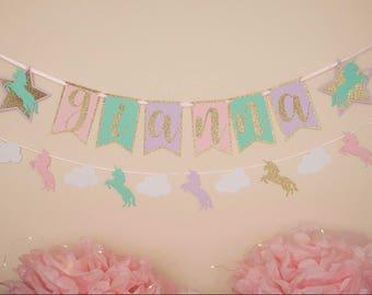 Unicorn first birthday, unicorn party, unicorn decorations, first birthday, cake smash, banner, birthday banner