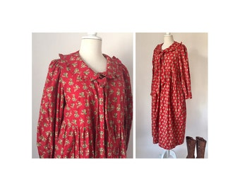 Red peasant dress - Etsy
