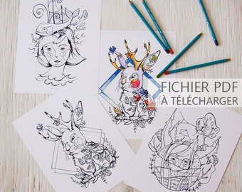 INSTANT DOWNLOAD! PDF File! Coloring page, set of three illustrations to be colored by illustrator Kim Durocher, Jackalope, Gaïa, sea lover.