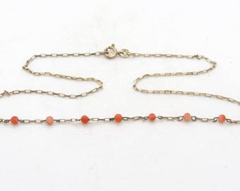 Sterling Silver & Genuine Mediterranean Coral Necklace 17 Inch, Salmon Red Coral Choker Chain Collier, Antique / Vintage Coral Jewelry