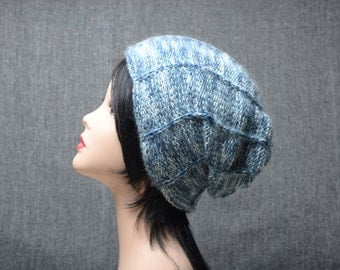 white blue hat, blue knitted beanie, knitted womens hat, winter hat, wool hat, knit beanie, winter accessories