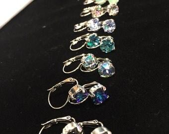 Swarovski Crystal 8.5mm Rhodium Birthstones & More Drop Earrings
