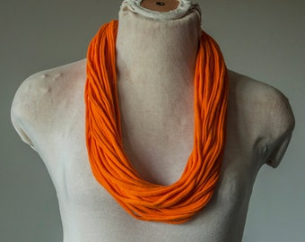 Recycled T-Shirt Necklace Orange