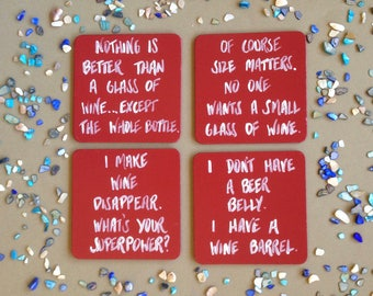 Wine Coasters, Coasters, Funny Coasters, Alcohol Coasters, Wine Lover Gift, Wine Lover Coasters, Wine Gifts, Alcohol Gifts