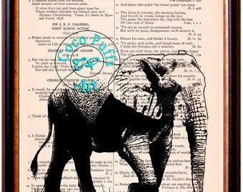 Walking Elephant Drawing Art Beautifully Upcycled Vintage Dictionary Page Book Art Print
