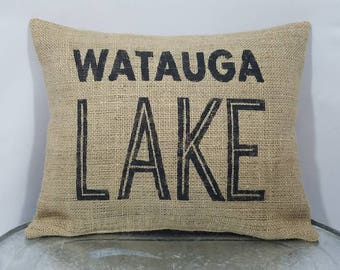 Personalized with your name/city/state/campground/lake black (or custom color) rustic burlap pillow cover/sham-Custom sizes and color option