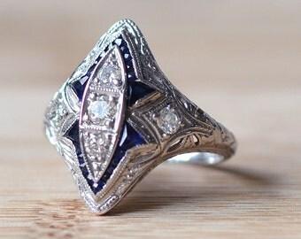 Vintage Sapphire and Diamond Ring - Art Deco Diamond Ring - Art Deco Engagement Ring - 1920s Engagement Ring - Sapphire Engagement Ring