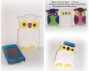 WHITE Whimsy Crochet Owl Cell Phone IPod Cozy Crochet Owl Cell Phone Cozy Case IPod Cover IPhone Crochet Owl Cozy Owl Phone Case IPod Pouch