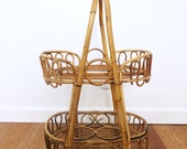 SOLD Bamboo Rattan Bar Cart, Vintage Bamboo Table, Bohemian Home, Small Mid Century Rolling Bar Cart