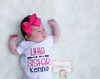 Little Sister Embroidered Shirt Bodysuit ANY COLORS New Baby Shower Gift