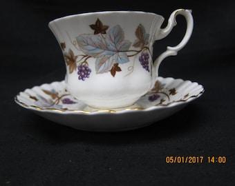 "Royal Albert ""Lorraine"" English Bone China Cup and Saucer"
