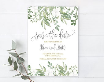 Greenery Save the date minimalistic card watercolor leaf branches green and gold, greenery invitation