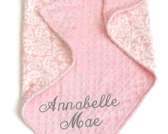 Personalized Baby Blanket or Lovey, Baby Girl blanket,  Blush Pink Damask Minky Blanket, Pink Damask Blanket, Baby Girl Minky Blanket