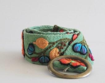 70'S Vintage Green Canvas Floral Embroidered Festival Belt