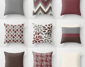 "Throw Pillow Covers, Wine Grey Beige Brown , 16"" Cushion Covers, Accent Pillow Covers, Home Decor, Choose patterns for front and back!!!"