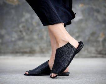 New! Black Sandals, Leather Sandals, Handmade Sandals, Summer Shoes, Black Summer Flats, Slide Sandals, Mules, Charlotte