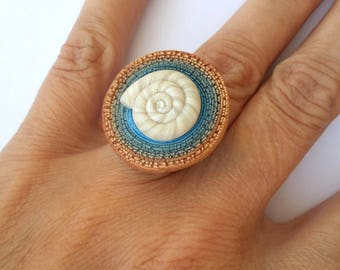 Polymer Clay Ring, Fashion Ring, Modern Ring, Spiral Ring