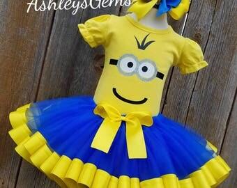Minion Birthday Outfit, Minion Costume, Minion Birthday Dress, Minion Tutu, Ribbon Trim Tutu, Kevin the Minion, Sewn Costume