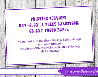 Professional Printing Service - Print And Mail - Add-On Print Service - 5x7 cards/games (baby shower games, bridal games)