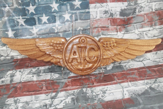 Air Crew Wings, Coast Guard wings, Navy wings, Marine wings, Aviation art, Aviation, Carved Air Crew, Air Crew gift,