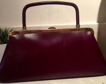 1960's Burgundy Block Leather Purse