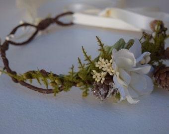 Ivory & Green Flower Crown- Flower Girl Wreath - Winter Flower Crown- Woodland Flower Crown- Photo Prop - Hair Accessory