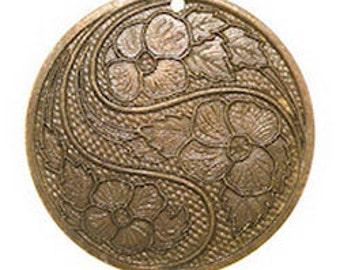 Trinity Vintage Brass Stamping 31mm SWIRLING FLOWER PENDANT (pkg 8) (msb1060)