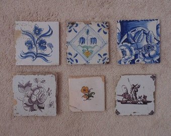 Antique Lot of 6 Delft Tiles Blue & White and Polychrome Flowers and Man with Horn